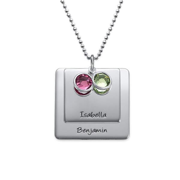 925 Sterling Silver Personalized Square Pendant Necklace with Engraving Adjustable 16-20""