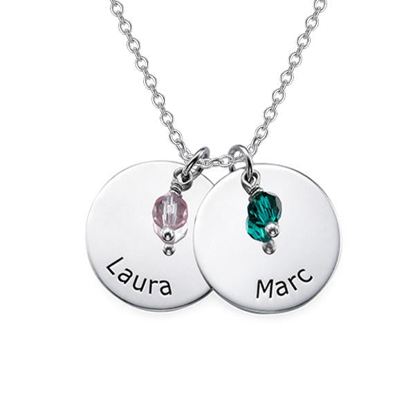 925 Sterling Silver Personalized Two Disc Engraved Necklace Adjustable 16-20""