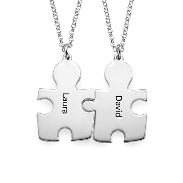 925 Sterling Silver Personalized Puzzle Necklaces for Couple Adjustable 16-20""