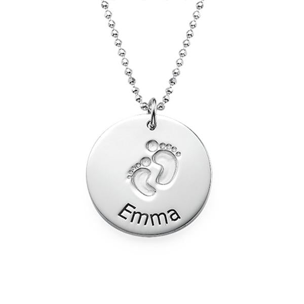 925 Sterling Silver Personalized Baby Name Necklace with Footprints  Adjustable 16-20""