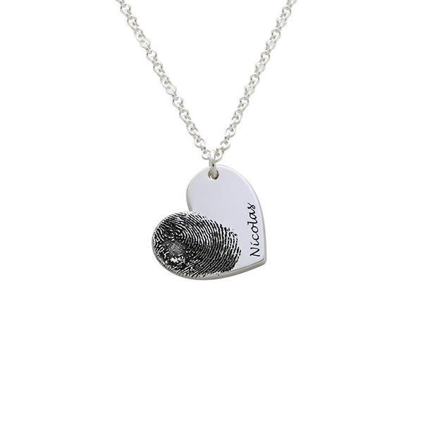 "925 Sterling Silver Personalized Fingerprint Heart Necklace-Adjustable 16""-20"""