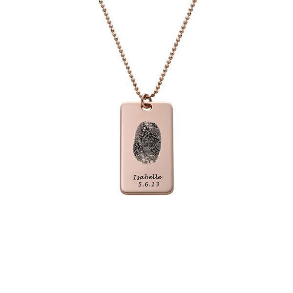 925 Sterling Silver Personalized Fingerprint Dog Tag Necklace