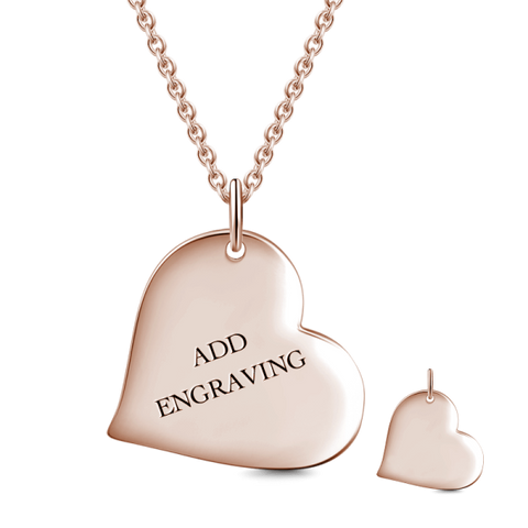 9K GOLD HEART ENGRAVABLE HANG TAG NECKLACE
