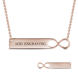 9K GOLD INFINITY ENGRAVABLE BAR NECKLACE