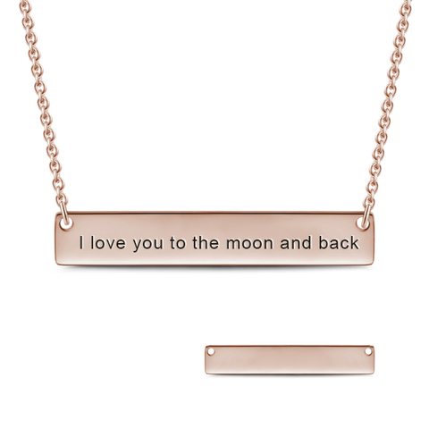 "I'll Love You Forever - Personalized Bar Necklace Adjustable Chain 16""-20"""