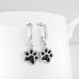 White and Black CZ Cute Pet Cat Puppy Dog Paw Print Earrings in Sterling Silver