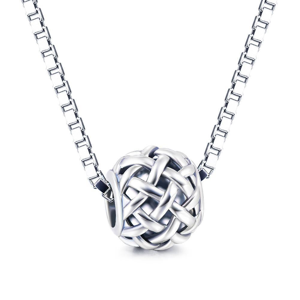 Fashion Hollow Braided Sterling Silver Charm For Bracelet and Necklace