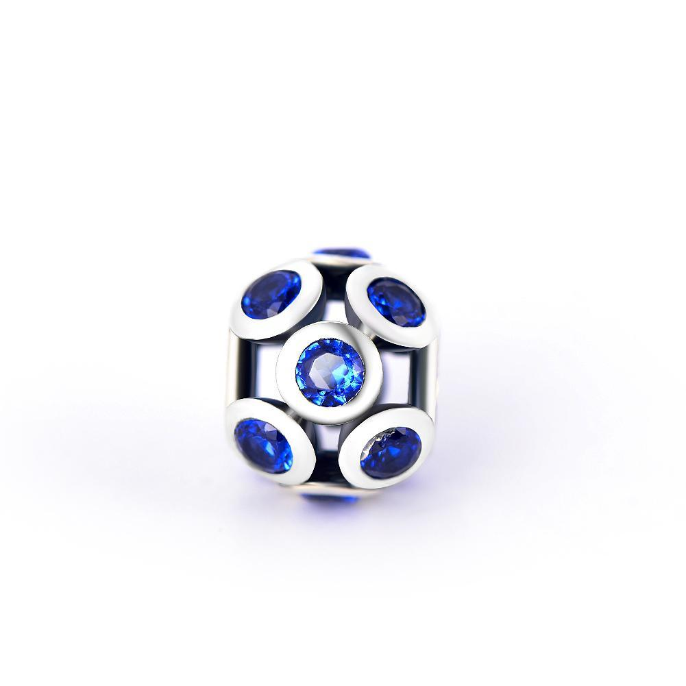 Fashion Blue Cubic Zirconia Sterling Silver Charm For Bracelet and Necklace