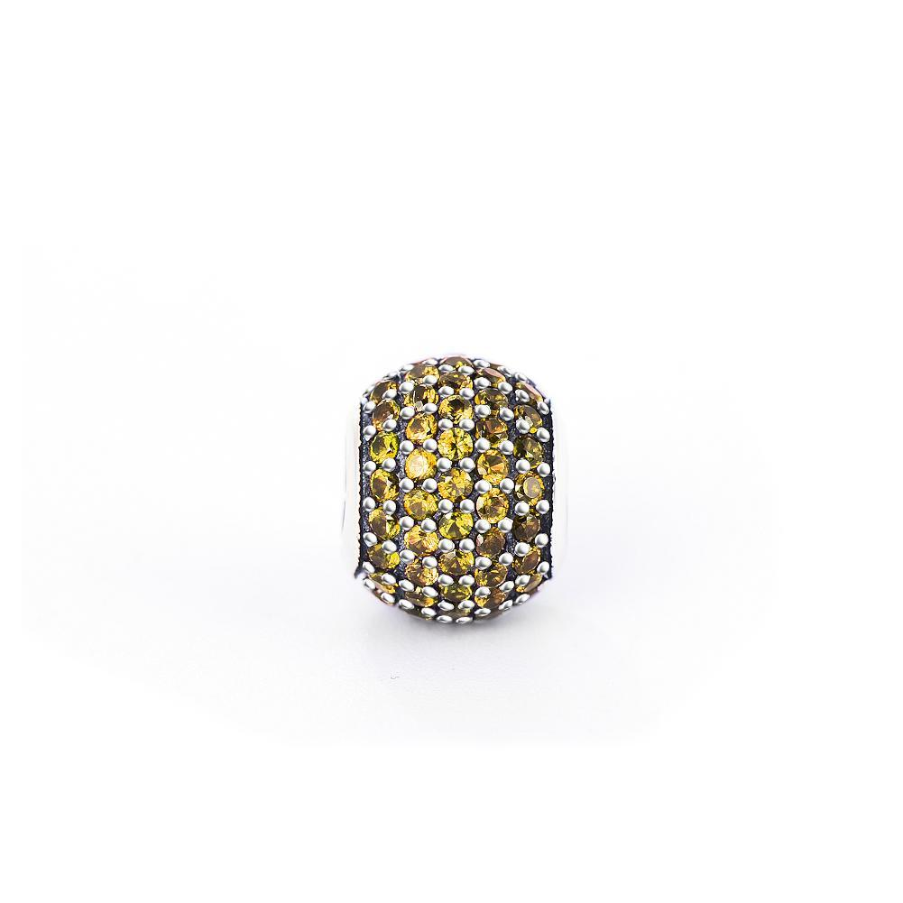 Fashion Yellow Cubic Zirconia Sterling Silver Charm For Bracelet and Necklace