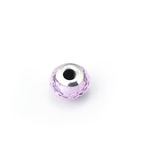 Diamond Faced Pink Glass Sterling Silver Charm for Bracelet and Necklace