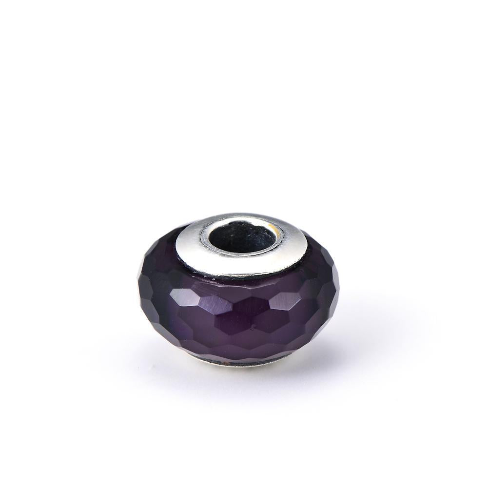 Diamond Faced Purple Glass Sterling Silver Charm for Bracelet and Necklace