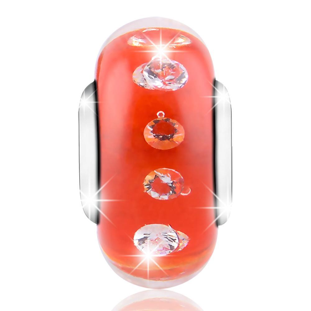 925 Sterling Silver-Red Built-in Bubble Glass Charm for Bracelet and Necklace