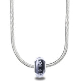 Black Built-in Diamond Glass 925 Sterling Silver Charm for Bracelet and Necklace