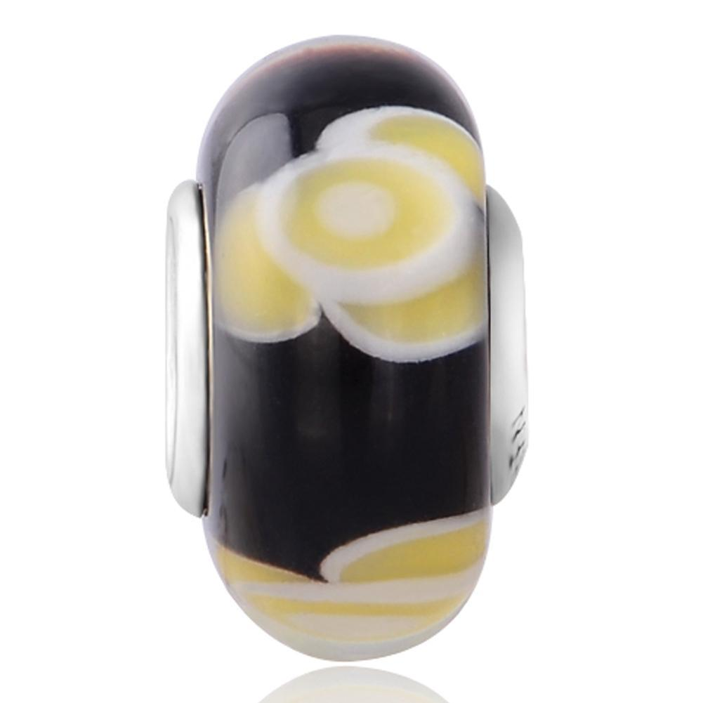 Yellow Flower Black Glass Charm for Bracelet and Necklace 925 Sterling Silver