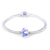 925 Sterling Silver Blue White Leaves Glass Charm for Bracelet and Necklace