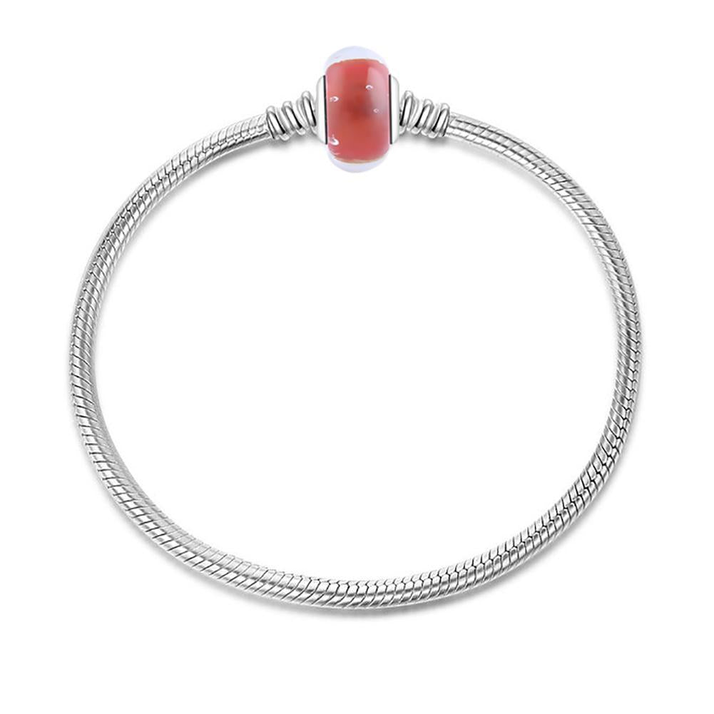 Red Built-in Bubble Glass Charm in 925 Sterling Silver for Bracelet and Necklace