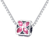 925 Sterling Silver Pink Flower Charm For Bracelet and Necklace
