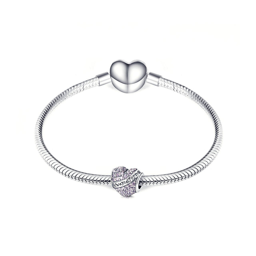 925 Sterling Silver Love Heart Charm Fit for Bracelet and Necklace