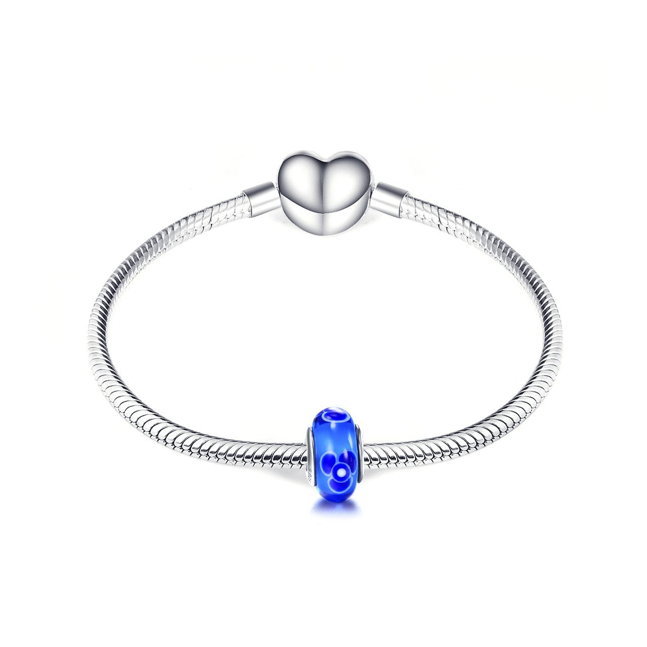 925 Sterling Silver Blue Flower Glass Charm for Bracelet and Necklace