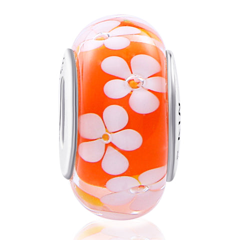 925 Sterling Silver Flower Orange Glass Charm for Bracelet and Necklace