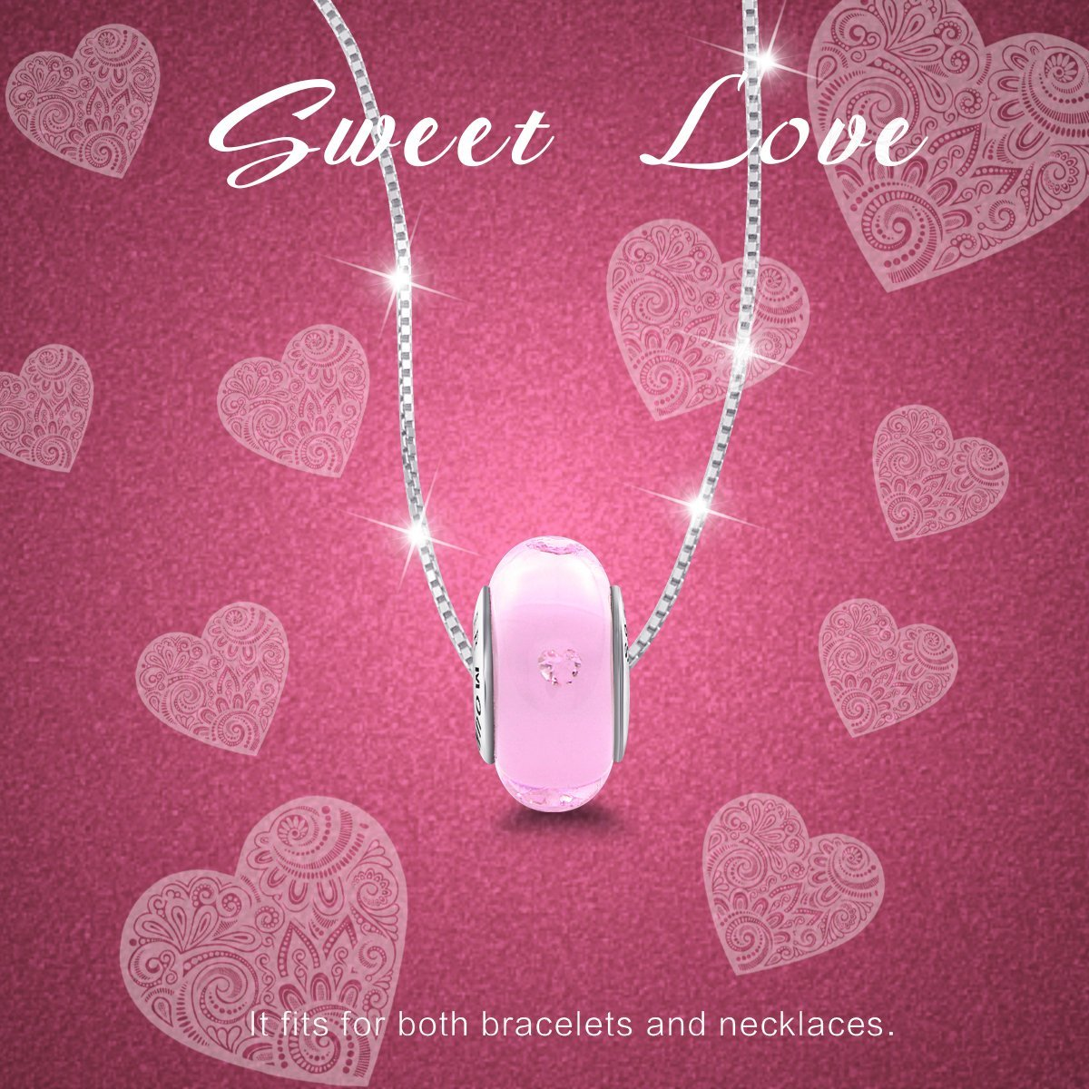 Build-in Diamond 925 Sterling Silver Hearts Pink Glass Charm for Bracelet and Necklace