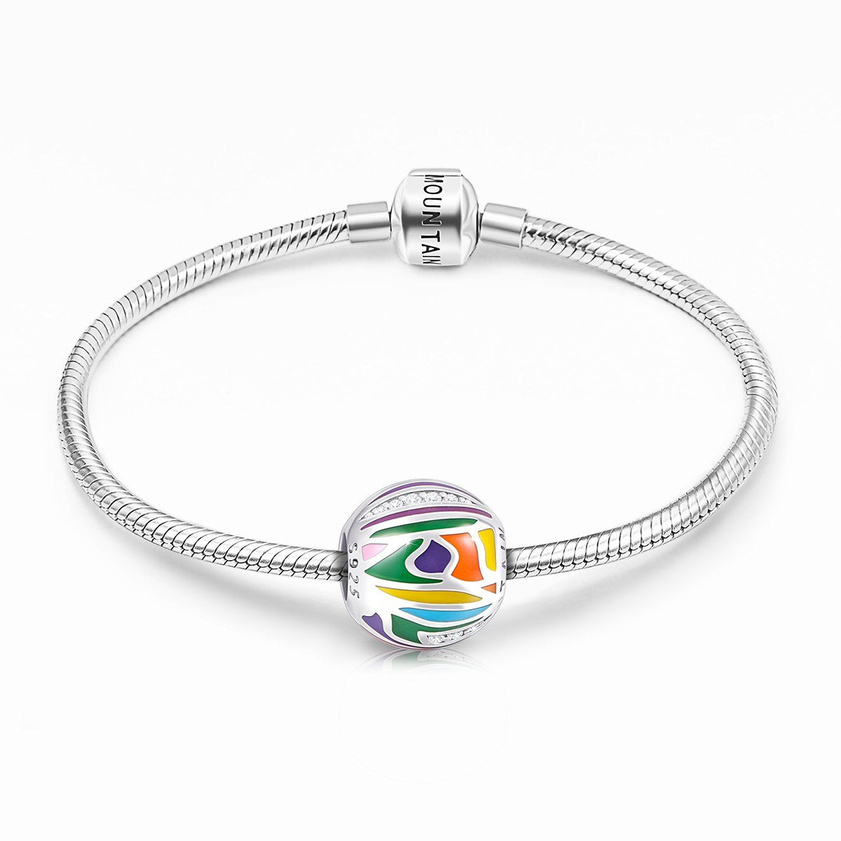 Abstract Painting Craft Colorful Charm in 925 Sterling Silver for Bracelet and Necklace