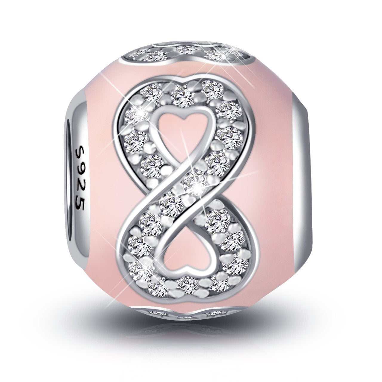 Infinite Love Pink Charm For Bracelet and Necklace in 925 Sterling Silver
