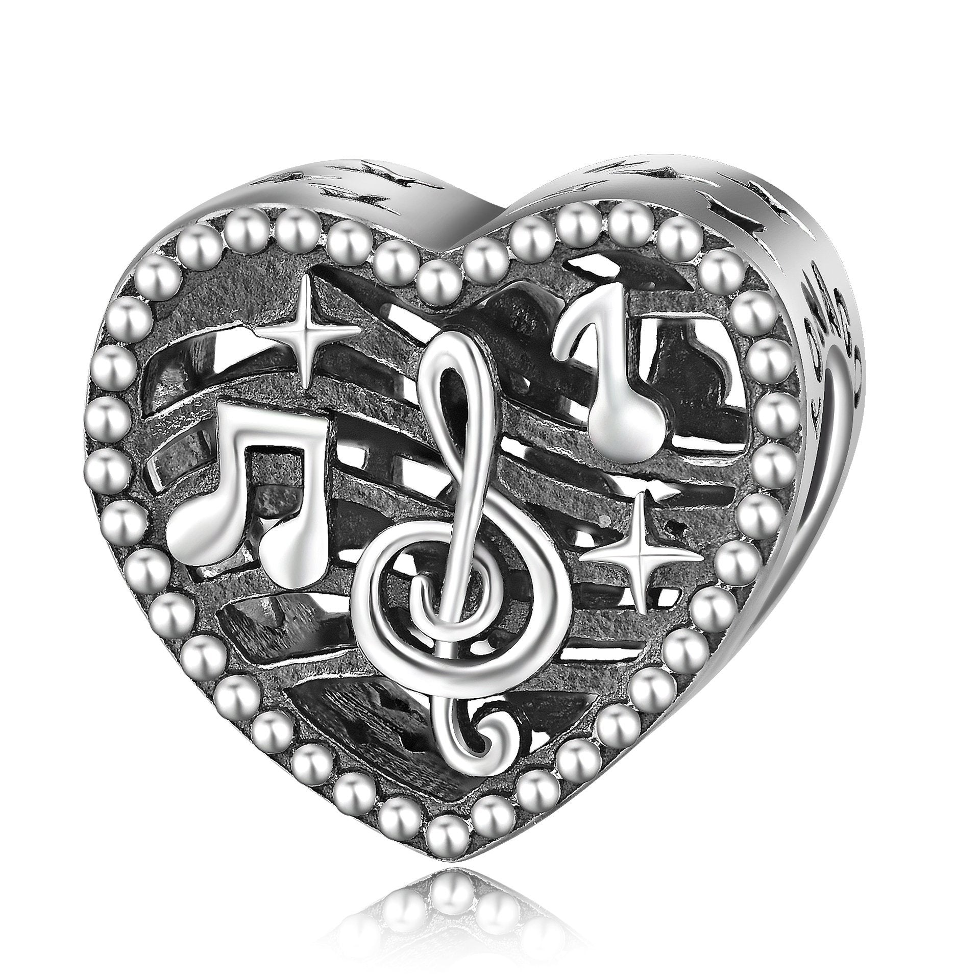 Sterling Silver Love Heart Music Elements Charm For Bracelet and Necklace