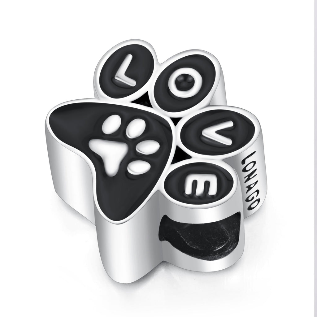 Sterling Silver Pets Paw Love Charm for Bracelet and Necklace
