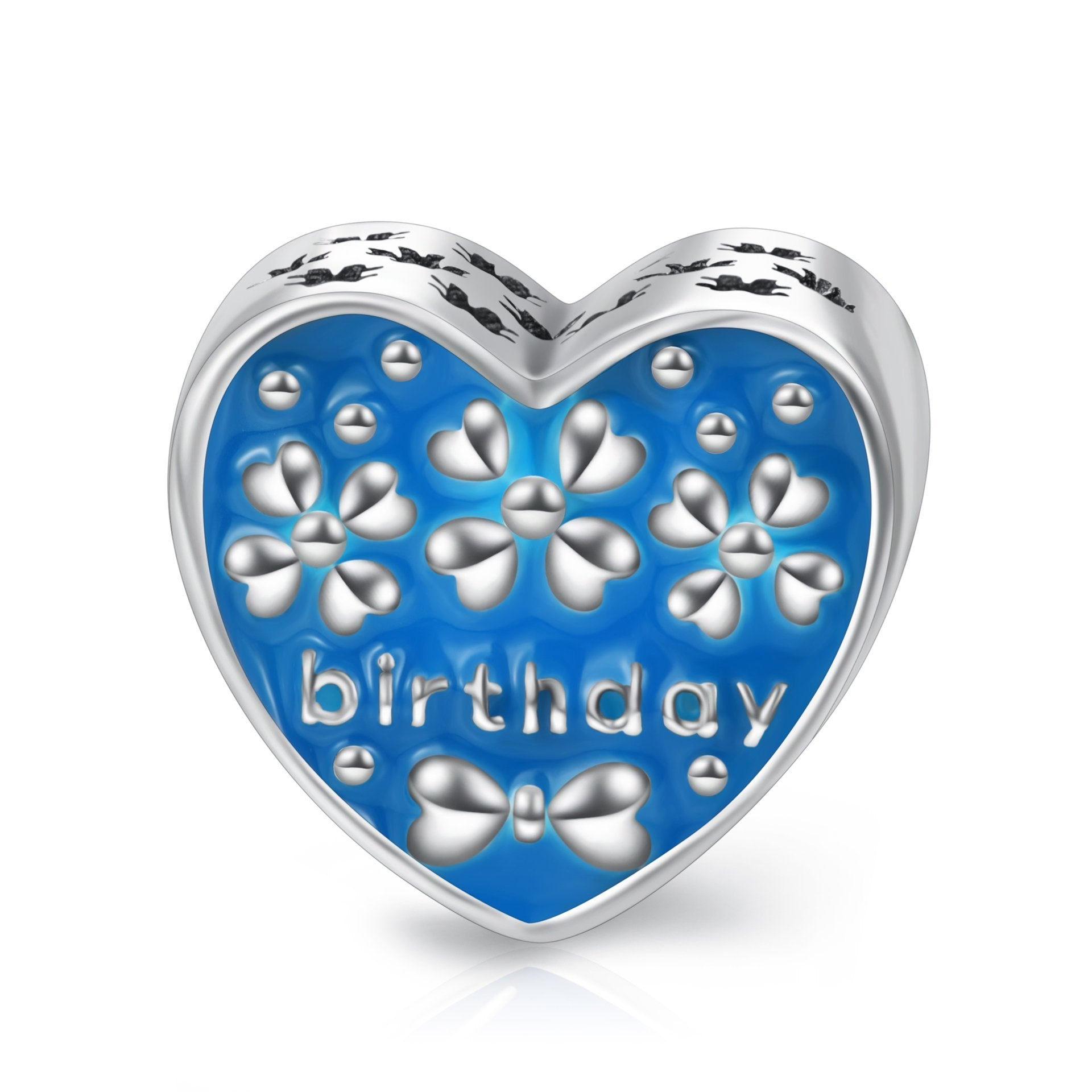 Sterling Silver Birthday Love Heart Charms Fit for Bracelet and Necklace