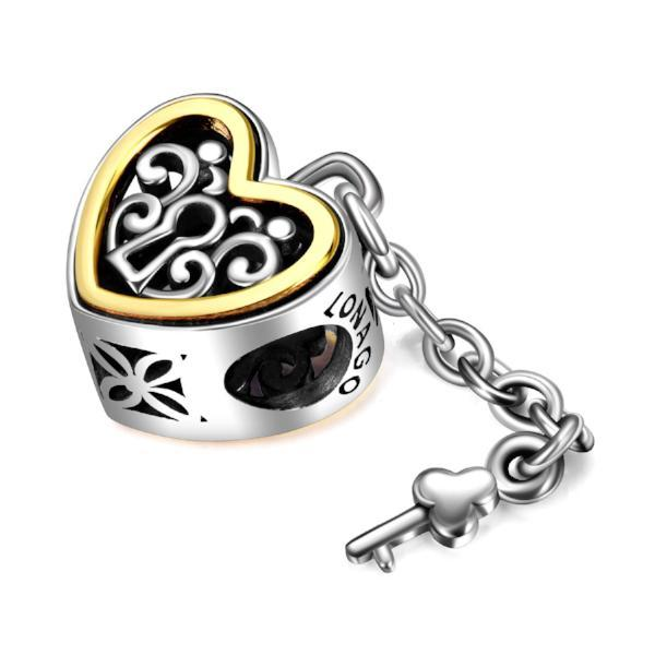 Sterling Silver Heart Lock And Key Charms Fit for Bracelet and Necklace