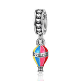 """Hot-air Balloom"" Sterling Silver Charm for Bracelet and Necklace"