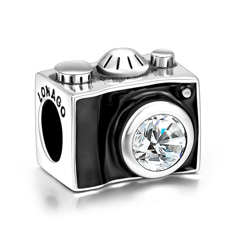 925 Sterling Silver Camera Charm for Bracelet and Necklace