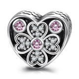 Love Heart Sterling Silver Charm Fit for Bracelet and Necklace