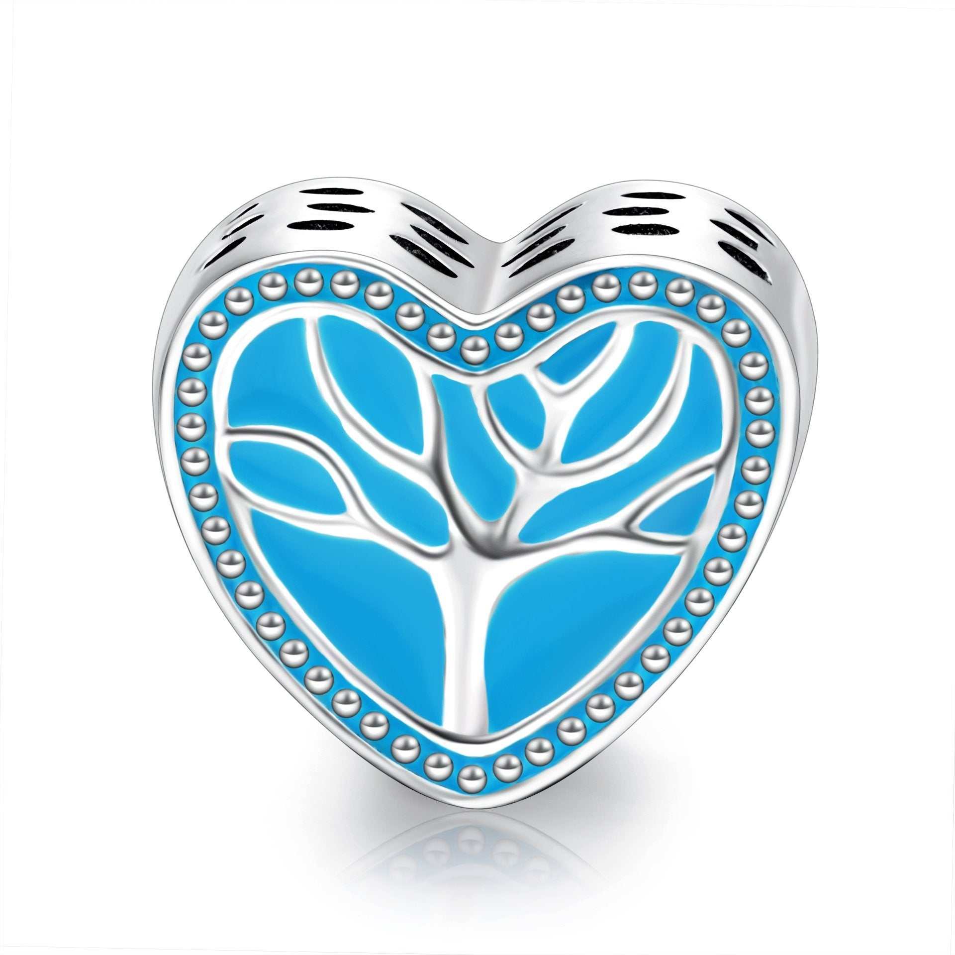 Sterling Silver Life Tree Blue Heart Charm for Bracelet and Necklace