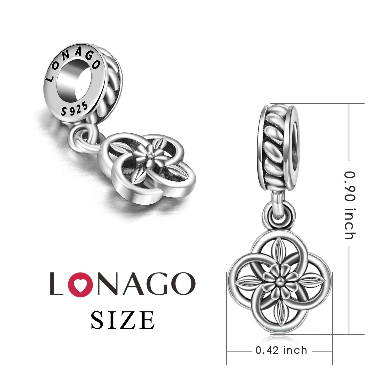 Sterling Silver Fashion Charm For Bracelet and Necklace