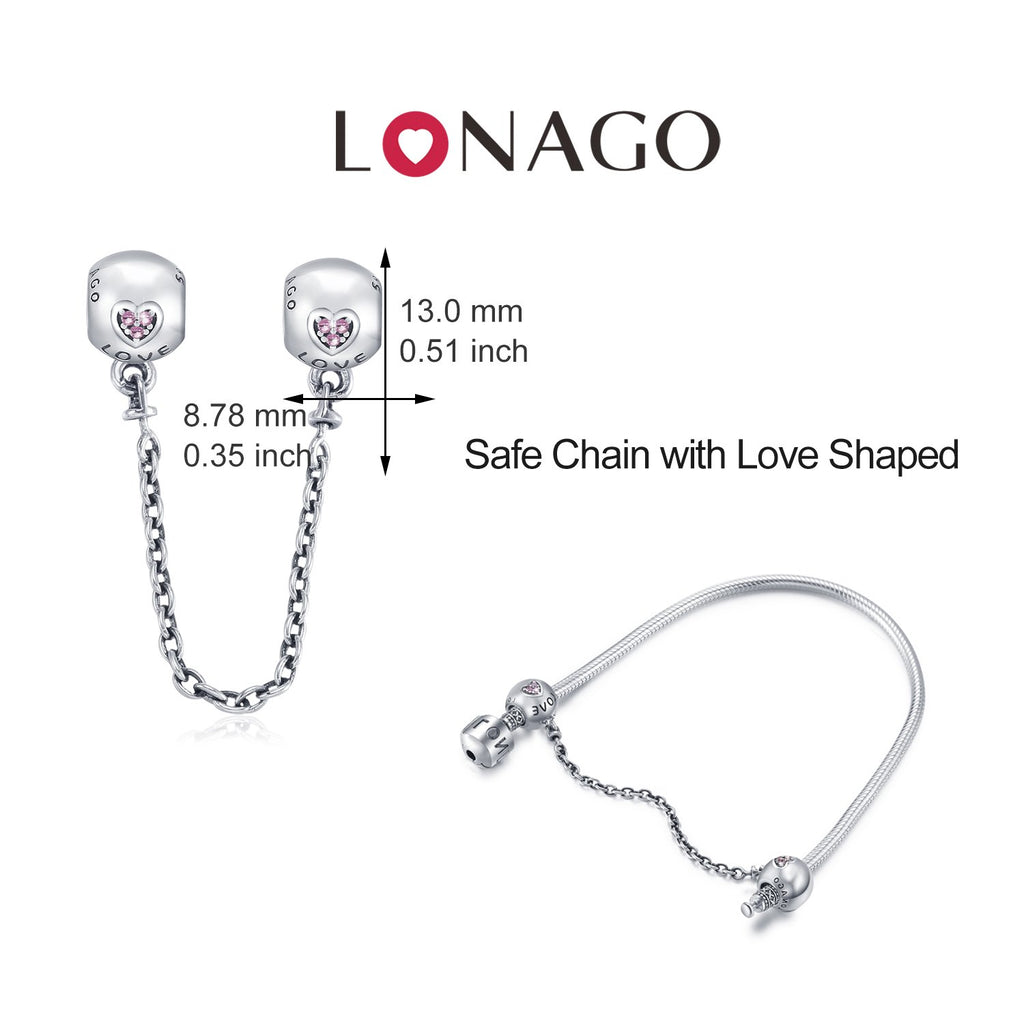 Sterling Silver Love Safety Chain Charm Fit for Bracelet and Necklace