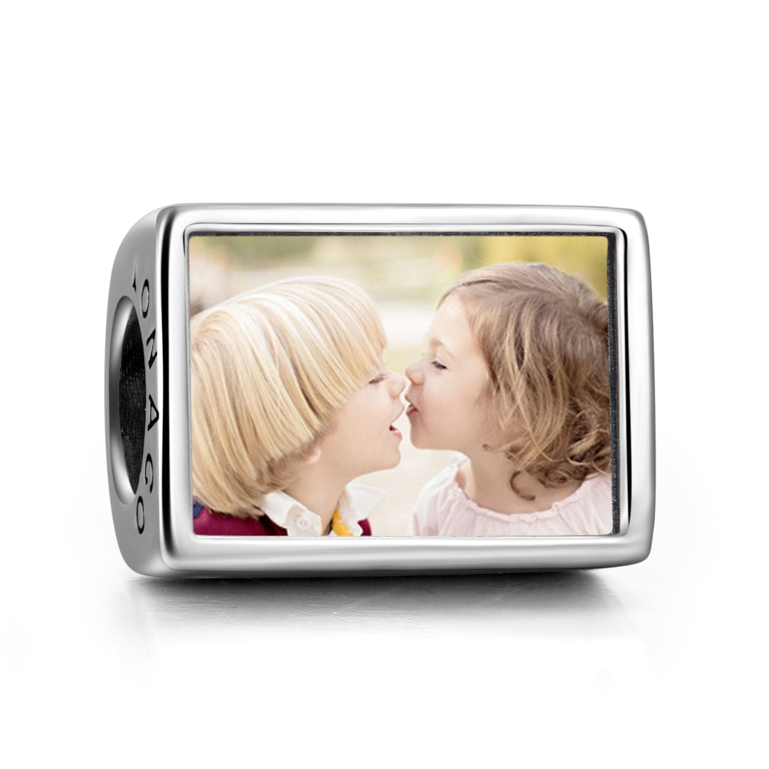 Personalized 925 Sterling Silver Rectangle Color Photo Charm