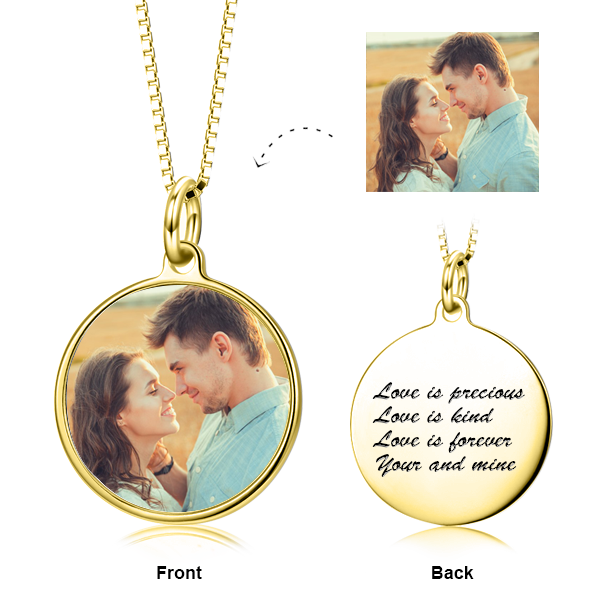 "We're Meant For Each Other -  Copper/925 Sterling Silver Personalized Color Photo &Text Necklace Adjustable 16""-20"""