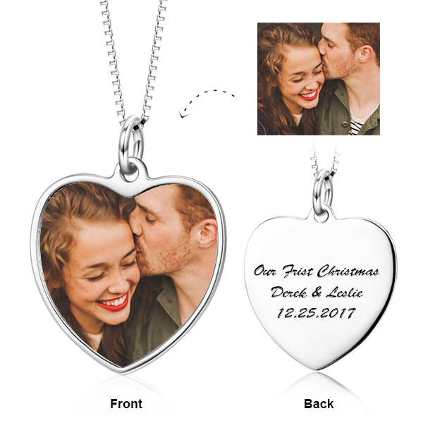 925 Sterling Silver Personalized Color Photo and Engraved in Heart Pendant Necklace