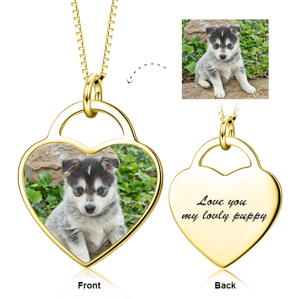 "14K Gold Personalized Pets Color Photo&Text Necklace Adjustable 16""-20"""