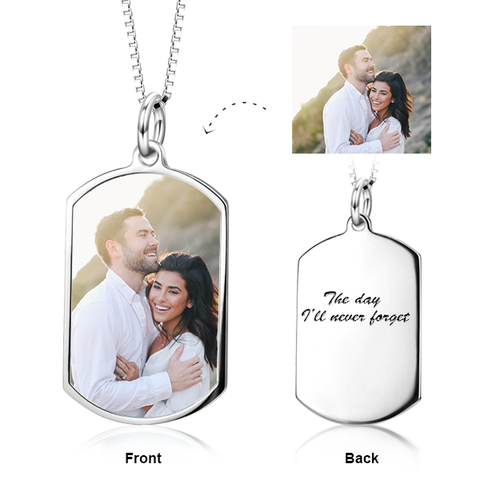 Personalized Your Color Photo and Engraved Dog Tag Necklace in Sterling Silver/ 14K Gold