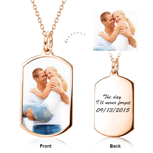 "Hold You Tight - Copper/925 Sterling Silver Personalized  Color Photo Necklaces Adjustable 16""-20"""