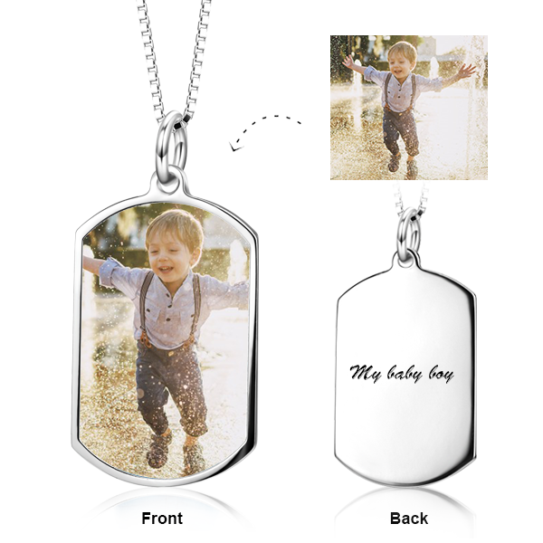 925 Sterling Silver Personalized Color Photo Pendant Necklace