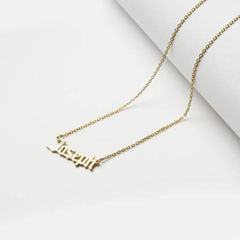 "925 Sterling Silver/Copper/Steel Personalized Minimal Name Jewelry Adjustable 16""-20"" -Yellow Gold Plated"