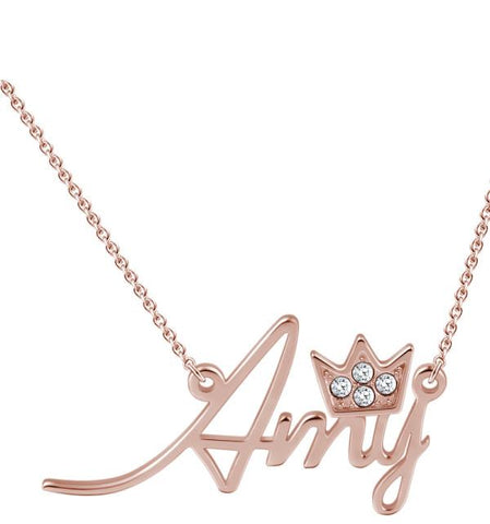 "Sterling Silver Personalized ""Amy""Style Swarovski Inlay Name Necklace-Rose Gold Plated"