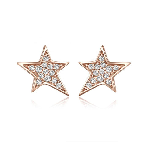 925 Sterling Silver Rose Gold Star  Stud Earrings with Cubic Zirconia  for women