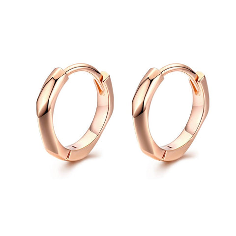 925 Sterling Silver Simple Rose Gold Plated Hoop Earrings  for Women