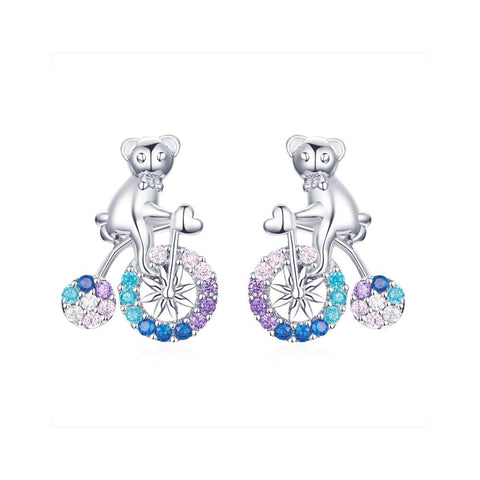 925 Sterling Silver Colourful bicycle Stud Earring for Women