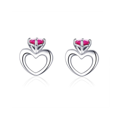 925 Sterling Silver Heartbeat Princess Crown Heart Love Stud Earring